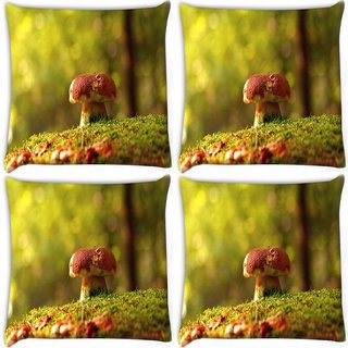 Snoogg Pack Of 4 Multicolor Mushroom Digitally Printed Cushion Cover Pillow 10 x 10 Inch
