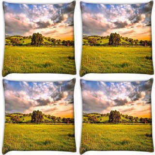 Snoogg Pack Of 4 Abstract Nature Tree Digitally Printed Cushion Cover Pillow 10 x 10 Inch