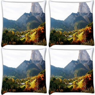 Snoogg Pack Of 4 Multiple Trees Digitally Printed Cushion Cover Pillow 10 x 10 Inch