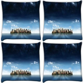 Snoogg Pack Of 4 City In An Island Digitally Printed Cushion Cover Pillow 10 x 10 Inch