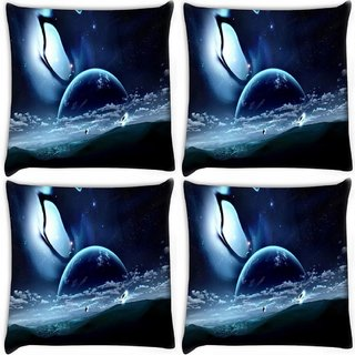 Snoogg Pack Of 4 Abstract Neon Earth Digitally Printed Cushion Cover Pillow 10 x 10 Inch