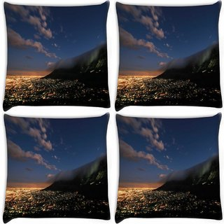 Snoogg Pack Of 4 Abstract Smoke On Top Digitally Printed Cushion Cover Pillow 10 x 10 Inch