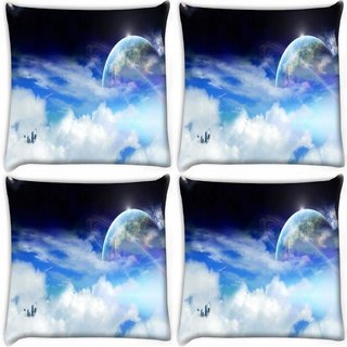 Snoogg Pack Of 4 Clouds And Earth Digitally Printed Cushion Cover Pillow 10 x 10 Inch