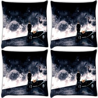 Snoogg Pack Of 4 Waiting For Love Digitally Printed Cushion Cover Pillow 10 x 10 Inch