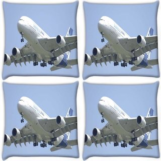 Snoogg Pack Of 4 Airplane Digitally Printed Cushion Cover Pillow 10 x 10 Inch