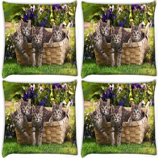 Snoogg Pack Of 4 Cats In Baskets Digitally Printed Cushion Cover Pillow 10 x 10 Inch