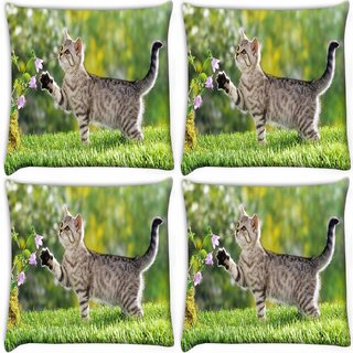 Snoogg Pack Of 4 Cat Playing Digitally Printed Cushion Cover Pillow 10 x 10 Inch
