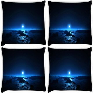 Snoogg Pack Of 4 Blue Moon Digitally Printed Cushion Cover Pillow 10 x 10 Inch