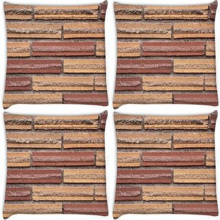 Snoogg Pack Of 4 Bricks On The Wall Digitally Printed Cushion Cover Pillow 10 x 10 Inch