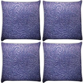 Snoogg Pack Of 4 Abstract Pattern Design Purple Digitally Printed Cushion Cover Pillow 10 x 10 Inch