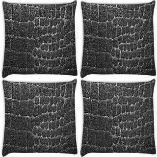 Snoogg Pack Of 4 Grey Rocks Pattern Design Digitally Printed Cushion Cover Pillow 10 x 10 Inch