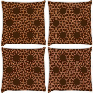 Snoogg Pack Of 4 Abstract Brown And Yellow Digitally Printed Cushion Cover Pillow 10 x 10 Inch