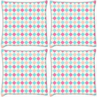 Snoogg Pack Of 4 Multicolor Blocks Digitally Printed Cushion Cover Pillow 10 x 10 Inch
