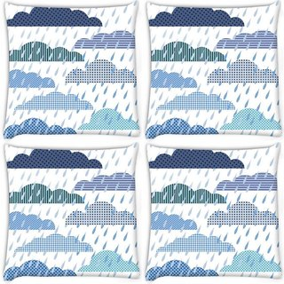 Snoogg Pack Of 4 Abstract Monsoon Pattern Digitally Printed Cushion Cover Pillow 10 x 10 Inch