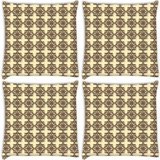 Snoogg Pack Of 4 Abstract Brown Pattern Design Digitally Printed Cushion Cover Pillow 10 x 10 Inch