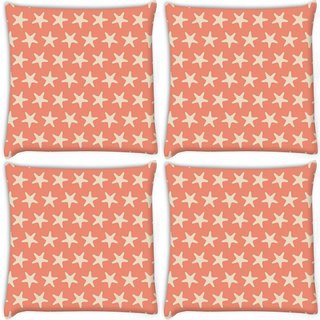 Snoogg Pack Of 4 Multiple Stars Orange Pattern Digitally Printed Cushion Cover Pillow 10 x 10 Inch