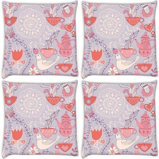 Snoogg Pack Of 4 White Pigeon Digitally Printed Cushion Cover Pillow 10 x 10 Inch