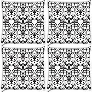 Snoogg Pack Of 4 Grey Abstract Pattern Digitally Printed Cushion Cover Pillow 10 x 10 Inch