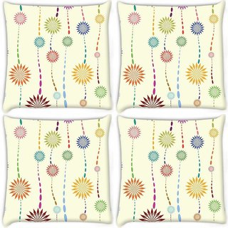 Snoogg Pack Of 4 Cream Petals Digitally Printed Cushion Cover Pillow 10 x 10 Inch