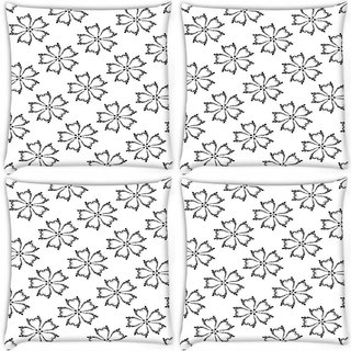 Snoogg Pack Of 4 White Flower Digitally Printed Cushion Cover Pillow 10 x 10 Inch