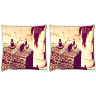 Snoogg Pack Of 2 Girl With Glares Digitally Printed Cushion Cover Pillow 10 x 10 Inch