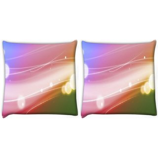 Snoogg Pack Of 2 Colorful Pattern Digitally Printed Cushion Cover Pillow 10 x 10 Inch