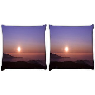 Snoogg Pack Of 2 Morning Sunrays Digitally Printed Cushion Cover Pillow 10 x 10 Inch