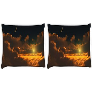 Snoogg Pack Of 2 Cloudy View Digitally Printed Cushion Cover Pillow 10 x 10 Inch