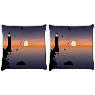 Snoogg Pack Of 2 Light House Digitally Printed Cushion Cover Pillow 10 x 10 Inch
