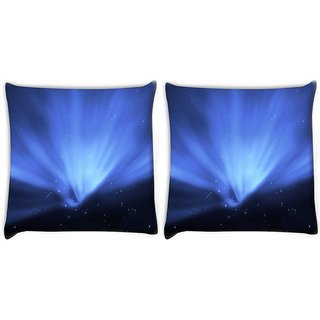 Snoogg Pack Of 2 Blue Stars Digitally Printed Cushion Cover Pillow 10 x 10 Inch