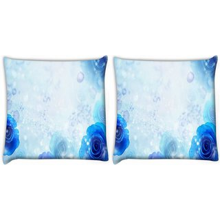 Snoogg Pack Of 2 Blue Roses Digitally Printed Cushion Cover Pillow 10 x 10 Inch
