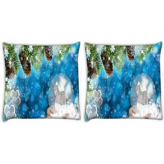 Snoogg Pack Of 2 Snowman Digitally Printed Cushion Cover Pillow 10 x 10 Inch