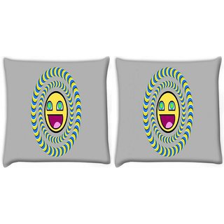 Snoogg Pack Of 2 Laughing Sun Digitally Printed Cushion Cover Pillow 10 x 10 Inch