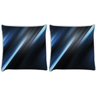 Snoogg Pack Of 2 Blue And Grey Layers Digitally Printed Cushion Cover Pillow 10 x 10 Inch