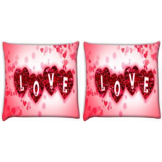 Snoogg Pack Of 2 Heart Of Love Digitally Printed Cushion Cover Pillow 10 x 10 Inch