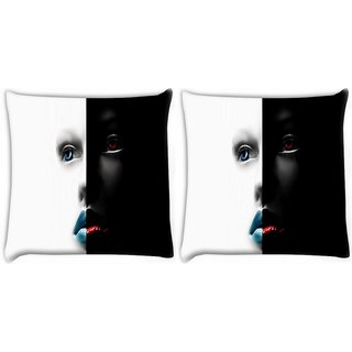 Snoogg Pack Of 2 Black And White Face Digitally Printed Cushion Cover Pillow 10 x 10 Inch