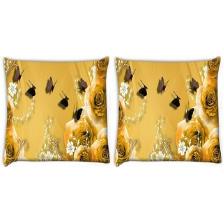Snoogg Pack Of 2 Golden Roses And Butterfly Digitally Printed Cushion Cover Pillow 10 x 10 Inch