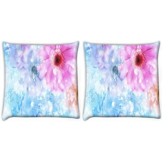 Snoogg Pack Of 2 Colorful Sunflower Digitally Printed Cushion Cover Pillow 10 x 10 Inch