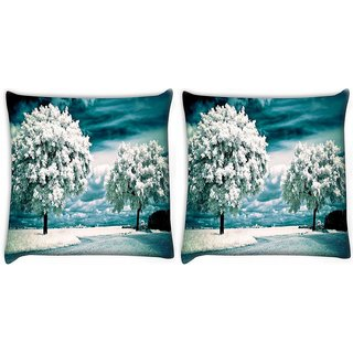 Snoogg Pack Of 2 White Frozen Trees Digitally Printed Cushion Cover Pillow 10 x 10 Inch