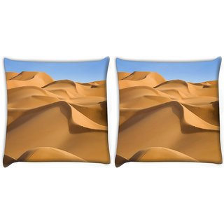 Snoogg Pack Of 2 Sunny Desert Digitally Printed Cushion Cover Pillow 10 x 10 Inch