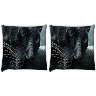 Snoogg Pack Of 2 Black Cat Digitally Printed Cushion Cover Pillow 10 x 10 Inch