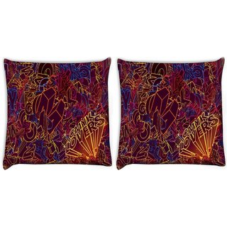 Snoogg Pack Of 2 Cmyk Lovers Digitally Printed Cushion Cover Pillow 10 x 10 Inch
