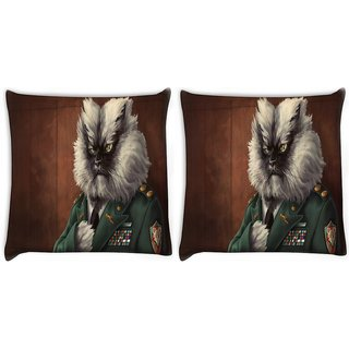 Snoogg Pack Of 2 Colonel Meow Digitally Printed Cushion Cover Pillow 10 x 10 Inch