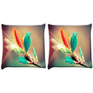 Snoogg Pack Of 2 Colorful Leaves Digital Art Digitally Printed Cushion Cover Pillow 10 x 10 Inch