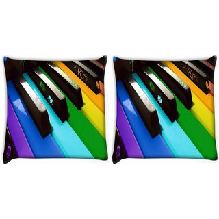 Snoogg Pack Of 2 Colorful Piano Keyboard Music Digitally Printed Cushion Cover Pillow 10 x 10 Inch
