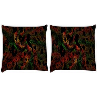 Snoogg Pack Of 2 Colorful Shades Abstract Digitally Printed Cushion Cover Pillow 10 x 10 Inch