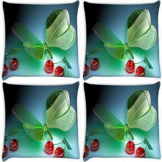 Snoogg Pack Of 4 Green Cyrstal Fly Digitally Printed Cushion Cover Pillow 10 x 10 Inch