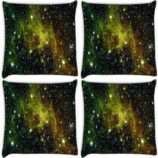 Snoogg Pack Of 4 Galaxy Digitally Printed Cushion Cover Pillow 10 x 10 Inch