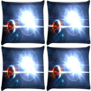 Snoogg Pack Of 4 Solar Sun Digitally Printed Cushion Cover Pillow 10 x 10 Inch