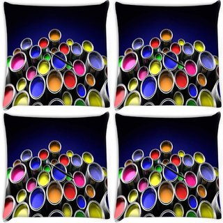 Snoogg Pack Of 4 Range Of Colours Digitally Printed Cushion Cover Pillow 10 x 10 Inch